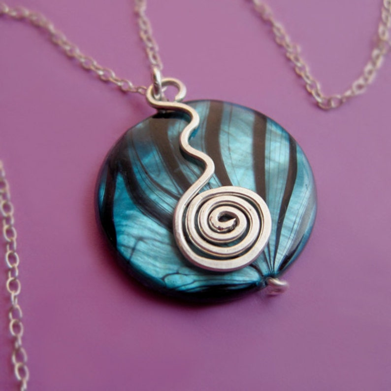 Sterling Silver Swiggle Swirl and Striped Shell Necklace image 0