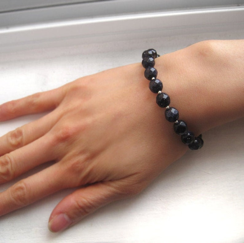 Midnight Stardust  Sterling Silver and Faceted Blue image 0