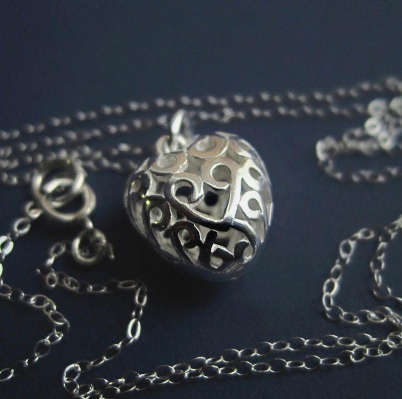 Sterling Silver Filigree Puff Heart Necklace Love Pendant image 0