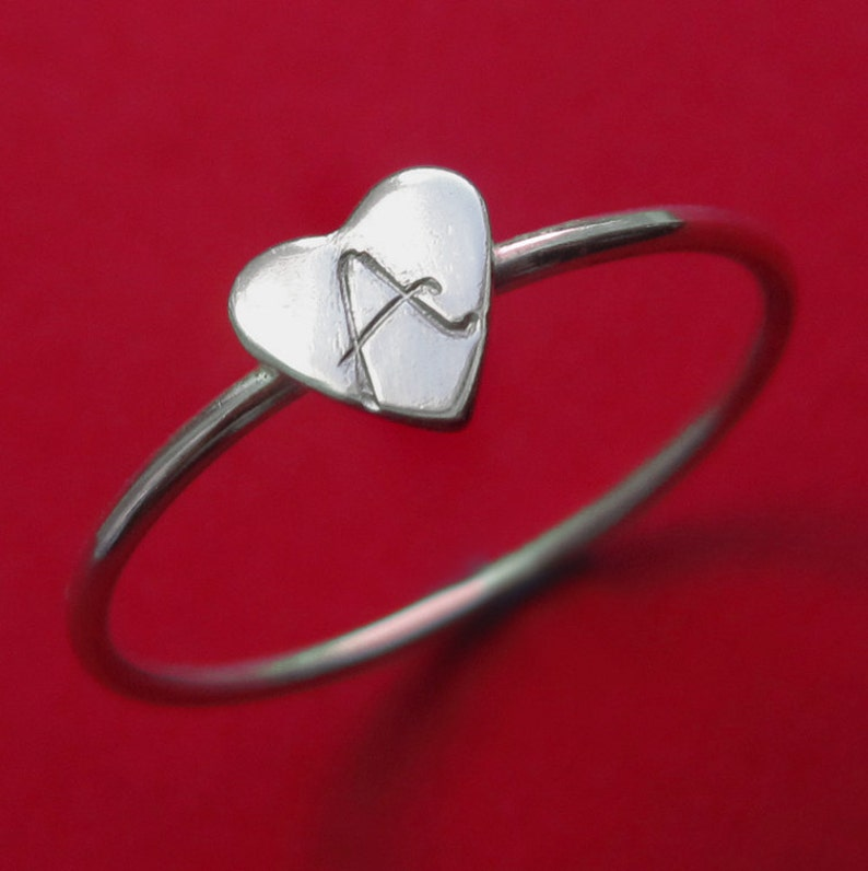 Personalized Sterling Silver Custom Tiny Initial Letter Heart image 0