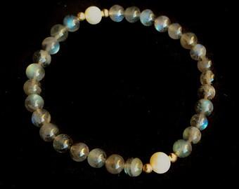 Labradorite, 14K Gold and Freshwater Pearl Stretch Bracelet -- AA Round Grey Rainbow Flash Gemstone Beads, Layering Friendship Teacher Gift