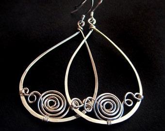 Sterling Silver Wire Wrapped Teardrop Hoop Earrings, Handcrafted Pear Frame, Swirl Loop Twist Spiral Design Metalwork Artisan Gift for Woman