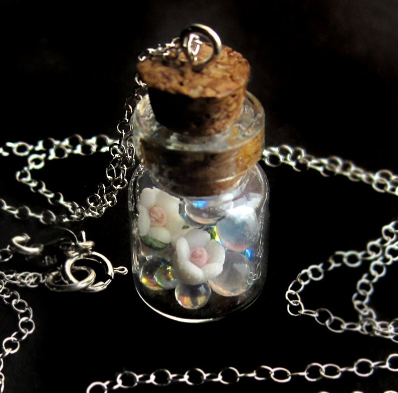 Sterling Silver Polymer Clay Roses and Glass Bubbles Wish Jar image 0