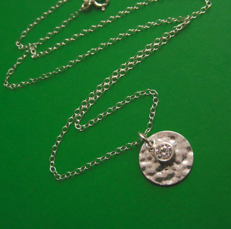 Hammered Sterling Silver Disc and Cubic Zirconia Charm image 0