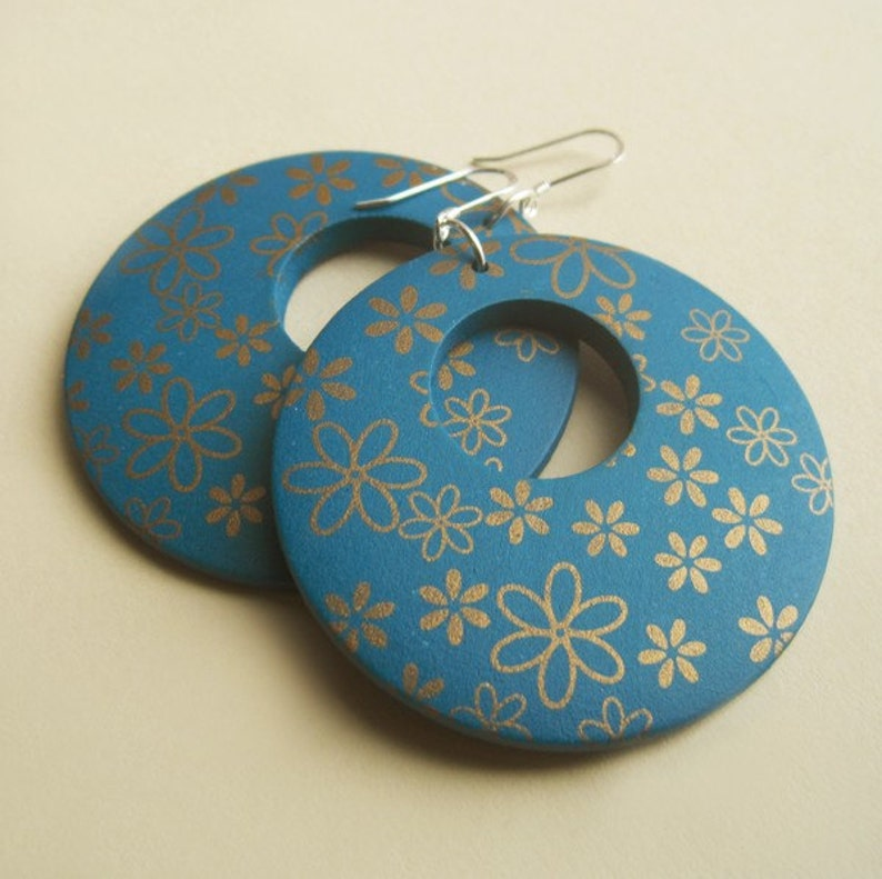 Sterling Silver and Teal Wood Hoop Earrings With Gold Flowers image 0