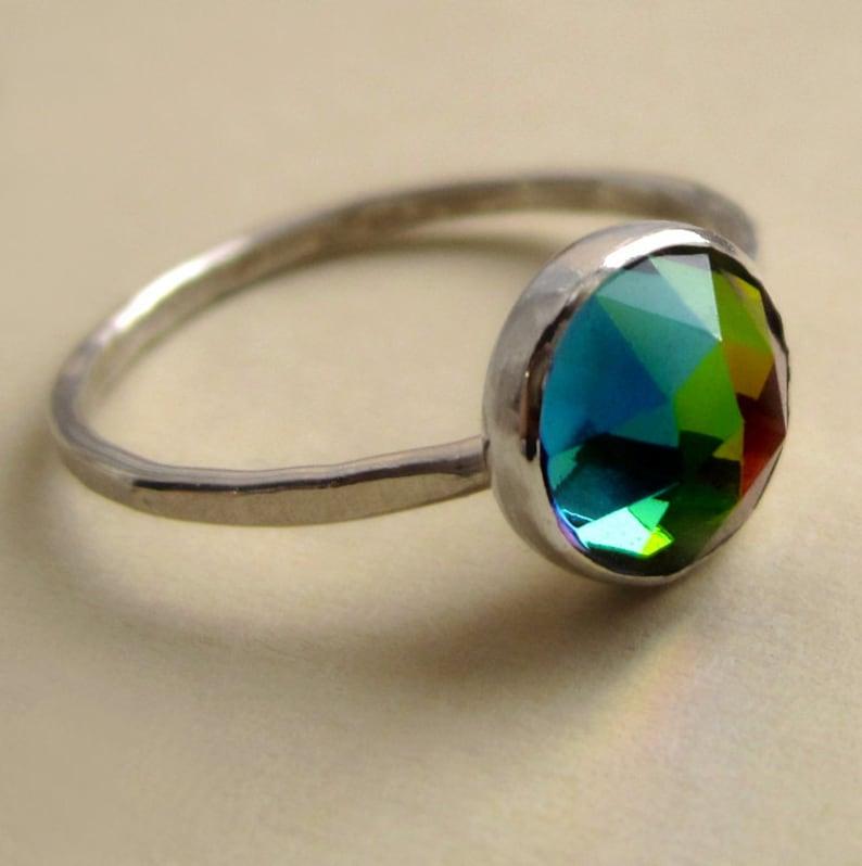 Vintage Sterling Silver Rainbow Preciosa Glass Ring image 0