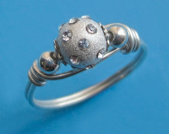Sterling Silver Wire Wrapped Crystal Ball Bead Ring, Dainty Stardust Jewel Shiny Orb Sparkly Right Hand Gift for Woman CZ April BFF Birthday