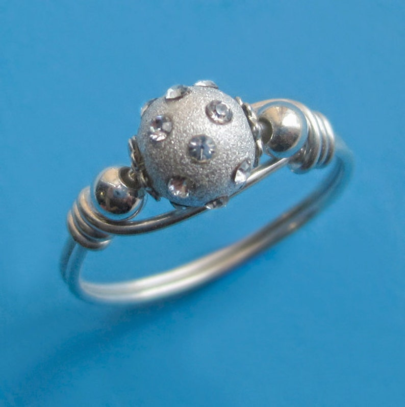 Sterling Silver Wire Wrapped Crystal Ball Bead Ring Dainty image 0