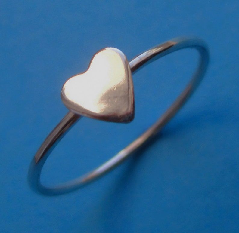Tiny Sterling Silver Heart Stacking Midi Pinky Ring image 0