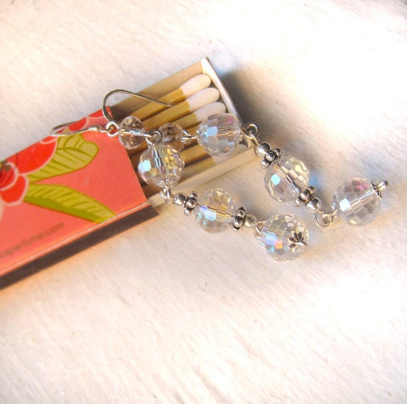 Sterling Silver and Faceted Crystal Link Earrings Dangly image 0