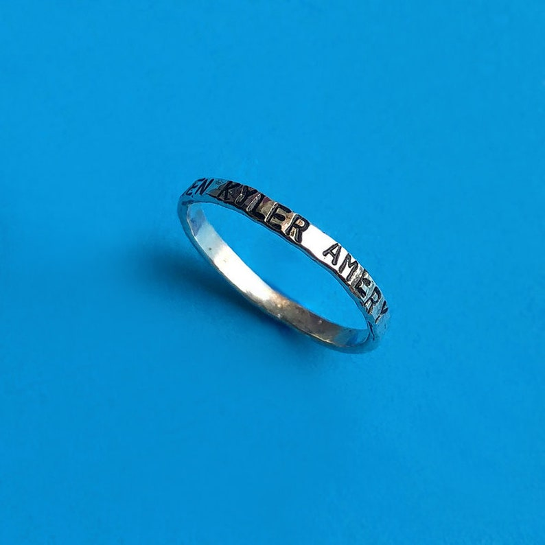 Thin Personalized Sterling Silver Handstamped Stacking Midi image 0