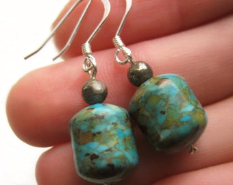 Mosaic Turquoise, Sterling Silver and Pyrite Bead Earrings, Mottled Semiprecious Barrel Stone Mix Cylinder Bead Simple Modern Gift for Her