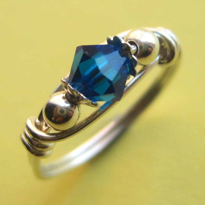 Sterling Silver Wire Wrapped Blue Swarovski Crystal Ring image 0