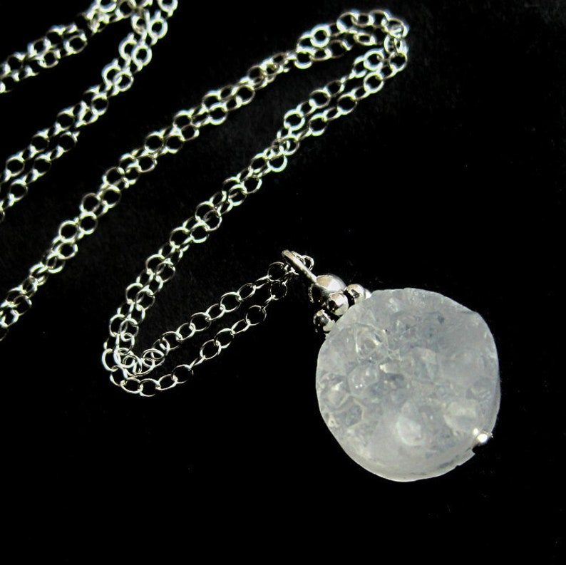 Sterling Silver and White Quartz Crystal Druzy Necklace image 0