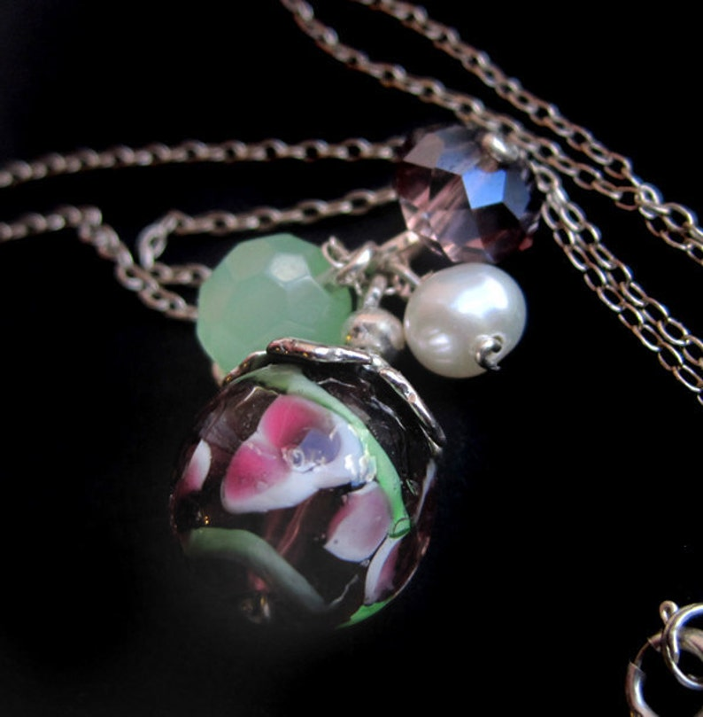 Sterling Silver Lampwork Glass Crystal and Freshwater Pearl image 0