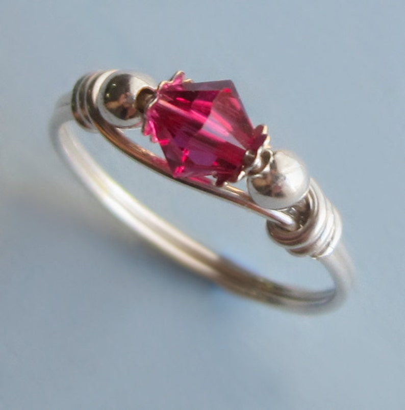 Wire Wrapped Sterling Silver and Pink Swarovski Crystal Ring image 0
