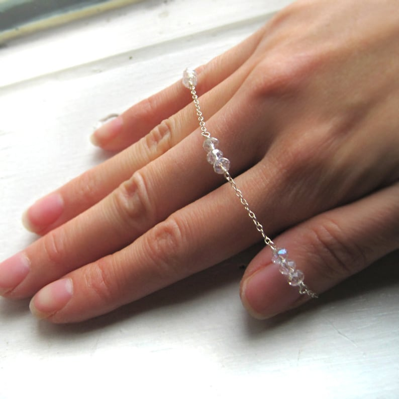 Dainty Sterling Silver and Crystal Bead Link Bracelet Faceted image 0