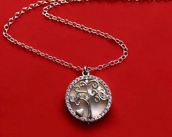 Sterling Silver Tree of Life Necklace with Movable Pendant and Mother-of-Pearl Shell Charm, Small Dainty Gift for Mom Grandma Wife Her