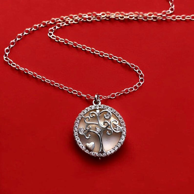 Sterling Silver Tree of Life Necklace with Movable Pendant and image 0