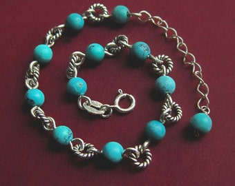 Sterling Silver Beaded Natural Turquoise Bracelet with Extender, Genuine Stone Adjustable Round Twist Link Small Green Blue Aqua December
