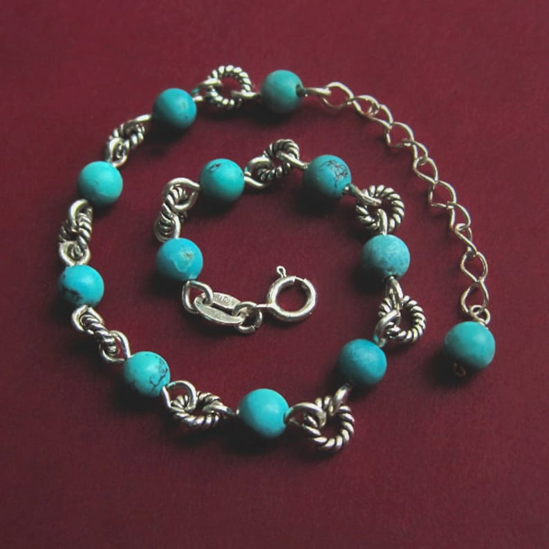 Sterling Silver Beaded Natural Turquoise Bracelet with image 0