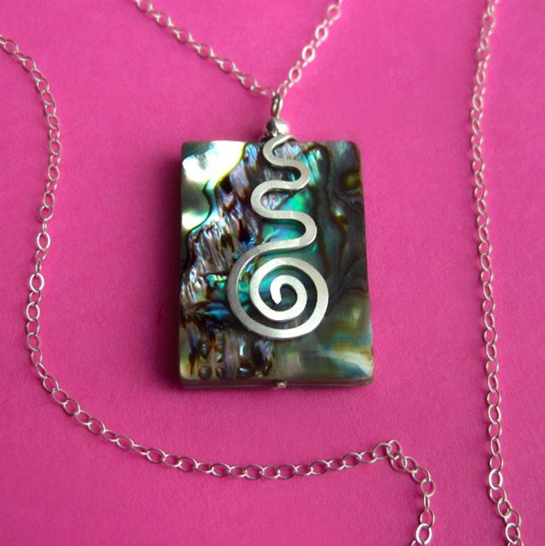 Sterling Silver and Rainbow Abalone Shell Necklace Rectangle image 0