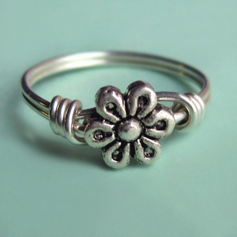 Rustic Sterling Silver Flower Ring Wire Wrapped Antique image 0