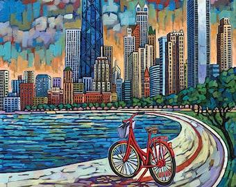 Biking Chicago, Chicago bike, Chicago bicycle, Chicago skyline, Chicago lakefront, art print, by Anastasia Mak