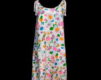 a13989fd72caa Vintage 60s White A Line Tent Smock Dress Cotton Pique' Tulips Pastel  Floral Geometric Spring Rope Shoulder Ties Mod Maternity Chic M Medium