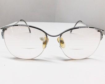 11d2299784e4 Vintage 80s 90s Icy Silver Metal Chrome Eyewear Eyeglasses Semi-Rimless  Half Rim Frames Texturized JAPAN Marchon