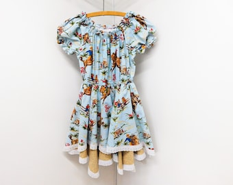 1b8f013eb Vintage Retro Girls Western Dress Full Skirt Rodeo Cowboy Horses Cowgirl  Cotton 50s Ranch Style Fabric 7/8 9/10