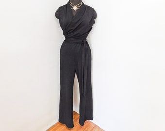 6c52dbdd51ed Vintage 90s Black Sleeveless Jumpsuit Saks Fifth Avenue Honeycomb Texture  Draped Surplice Deep V Sexy Chic Sophisticated Party S M Tall