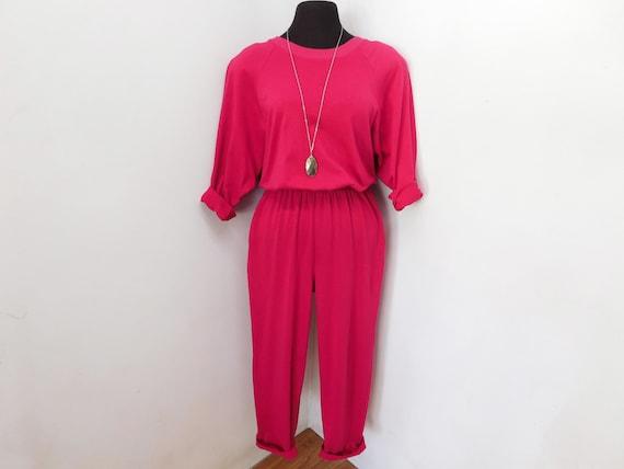 Vintage 80s 90s Bright Hot Pink Cotton Jumpsuit Sw