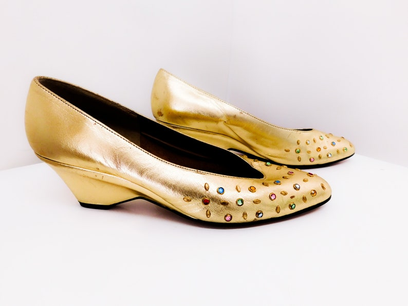 6e7a8384c51 Vintage 60s Gold Metallic Wedges Sandals Shoes Bejeweled