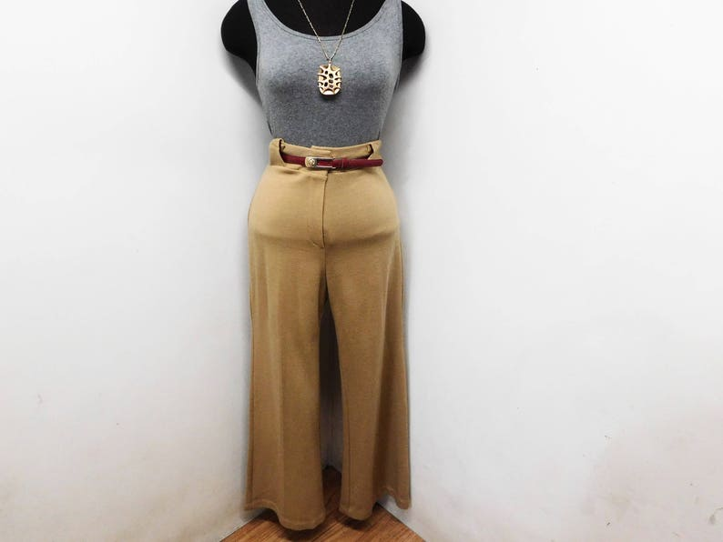 Vintage 70s Wide Leg Pants Trousers Ultra High Waist Camel Tan Knit Stretchy Chic Best Butt Classy Sophisticated M Medium 8 10