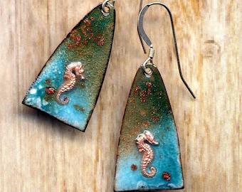 Handmade Enamel Seahorse Earrings Sea Side Green Turquoise Blue Sterling Earring 925 Fish Gold Stone Artisan Jewelry by Annaart72