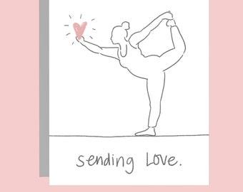 Sending Love (Dancer Pose) - Blank Yoga Pose Greeting Card // Yoga Card // Blank Inside // Thinking of You Card // Sympathy Card