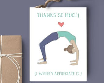 Thanks So Much! - Yoga Pose Thank You Card // Blank Inside // Yoga Cards // Yoga Stationary // Gratitude Card // Wheel Pose Card