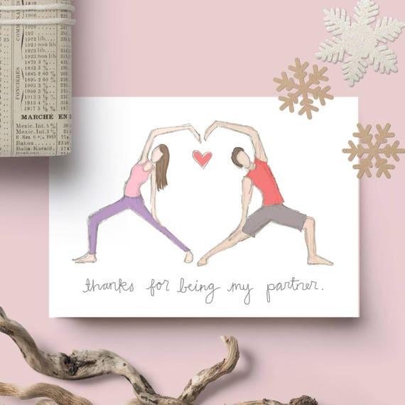 Partner Yoga Valentine S Day Card Blank Inside Yoga Etsy