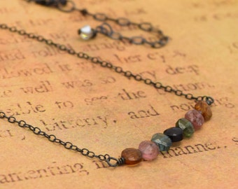 Minimalist faceted TOURMALINE gemstone patina sterling silver necklace