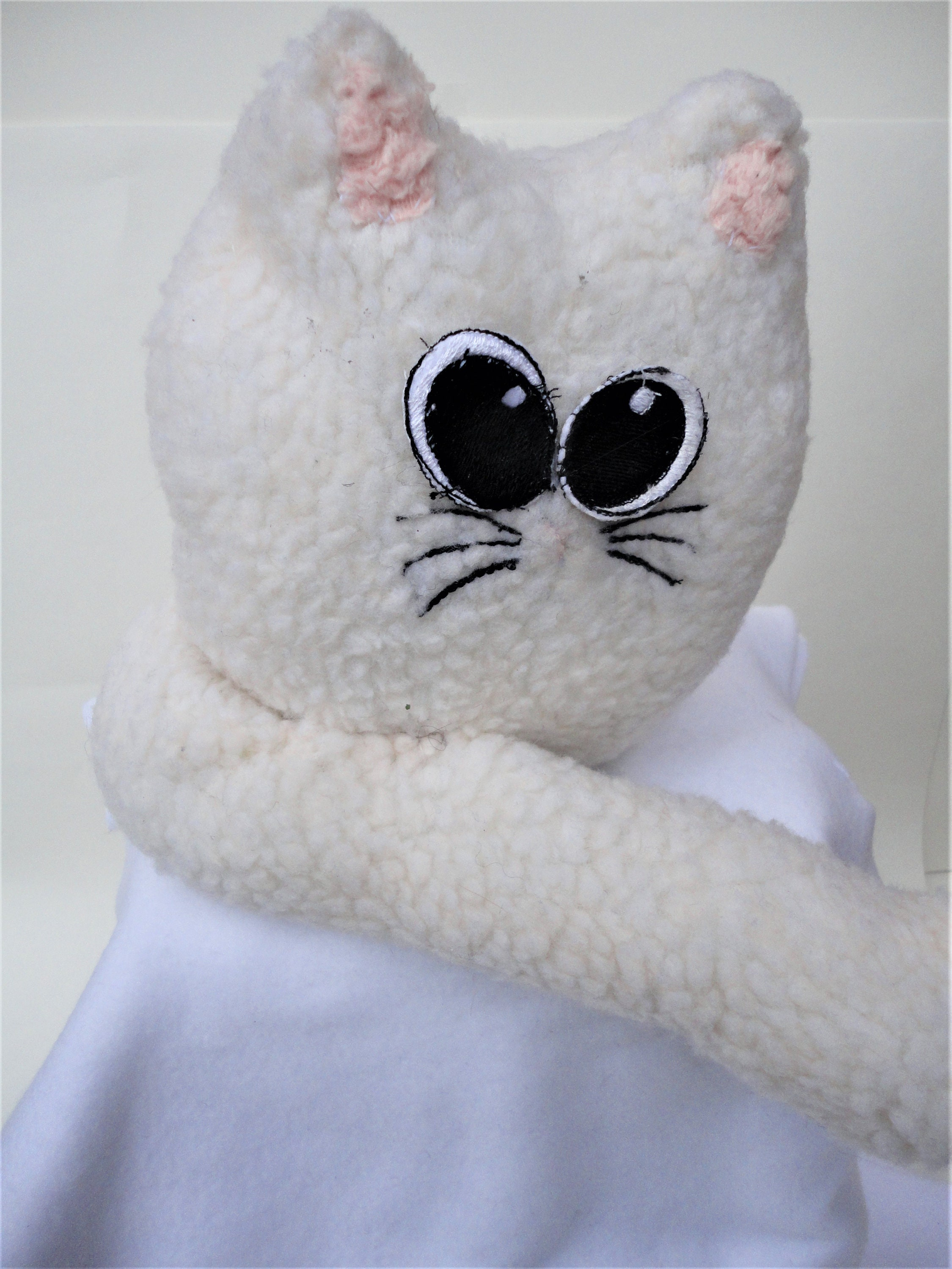My Fat Cat Wide Eyed Kitty Cat Stuffed Animal With Fluffy Tail Etsy