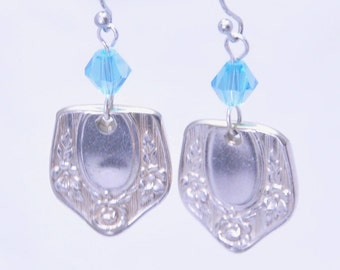 Silverware Earrings with Floral Pattern and Blue Beads Vintage Spoons Antique
