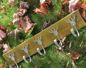 Mustard Stained 5 Funky Forks Coat Rack OH YEAH Recycled Silverware