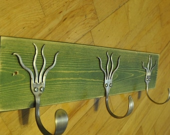Go Green Stained 3 Funky Forks Coat Rack OH YEAH Recycled Silverware