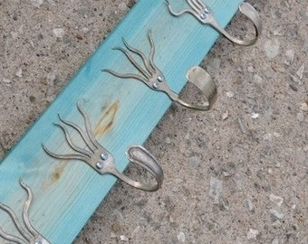 Turquoise Stained 5 Funky Forks Coat Rack OH YEAH Recycled Silverware