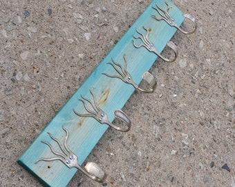 Go Turquoise Stained 5 Funky Forks Coat Rack OH YEAH Recycled Silverware