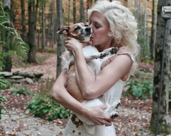 Wedding Dress Silk and Lace woodland Ivory white haute couture handmade fashion