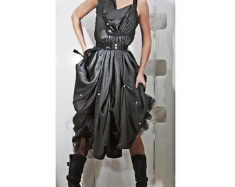 No 2 Silk Poem Aviator Dress - Abstract Haute Couture wearable ART Fashion