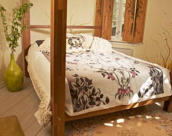 Linen Bed Cover large Printed Scandinavian design woodland Birds White bedding