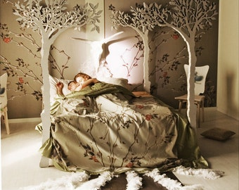 Under the apple tree canopy bed - Modern romantic Scandinavian design Sleep Therapy woodland fairy tale